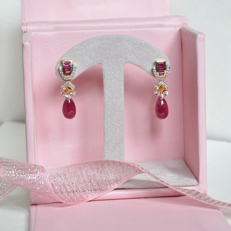 18 Karat Gold Rubellite Drop Pink Tourmaline Baguette Citrine Diamond Earrings For Sale 3