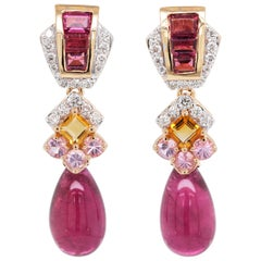 18 Karat Gold Rubellite Drop Pink Tourmaline Baguette Citrine Diamond Earrings