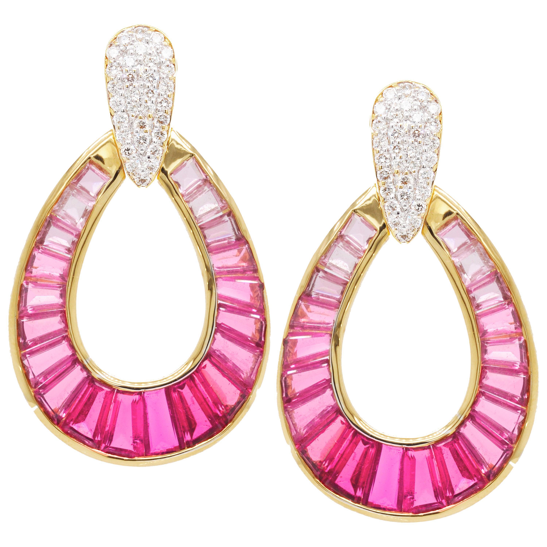 18 Karat Gold Rubellite Pink Tourmaline Baguette Diamond Dangling Drop Earrings