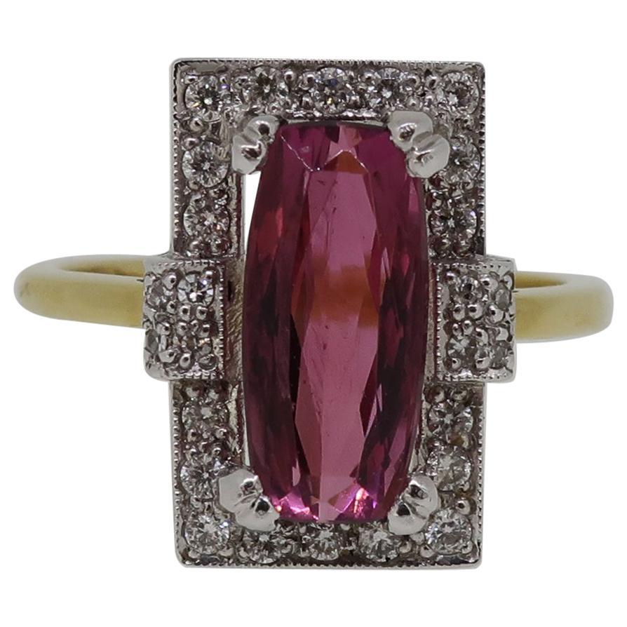 18 Karat Gold Rubellite Tourmaline and Diamond Art Deco Style Cluster Ring