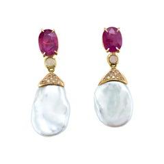 18 Karat Gold Rubies and Baroque Freshwater Pearl Drop Earrings