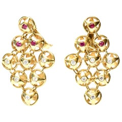 18 Karat Gold, Ruby and Diamond Chandelier Lever Back Pierced Earrings, French