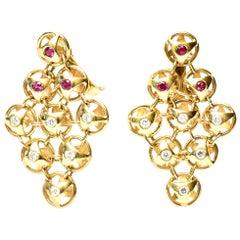 18 Karat Gold, Ruby and Diamond Chandelier Lever Back Pierced Earrings, French