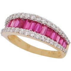 18 Karat Gold Channel Set Ruby Baguette Diamond Contemporary Band Ring