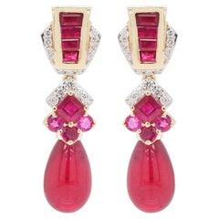 18 Karat Gold Ruby Baguette Ruby Drop Diamond Dangle Earrings
