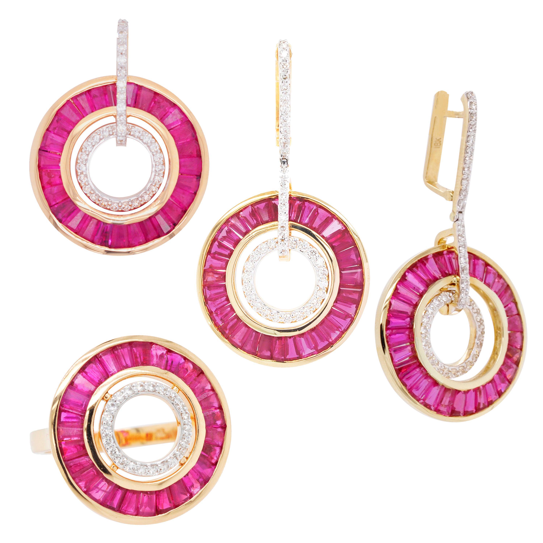 18 Karat Gold Ruby Baguettes Diamond Circular Pendant Necklace Earrings Ring Set