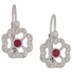 Ruby & Diamond Clover Drop Earrings in 18 Karat White Gold