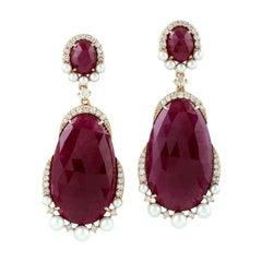 18 Karat Gold Ruby Diamond Earrings