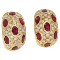 18 Karat Gold Ruby Diamond Hoop Earrings
