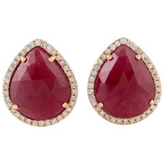 18 Karat Gold Ruby Diamond Pear Stud Earrings