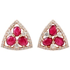 Ruby Diamond 18 Karat Gold Stud Earrings