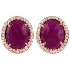 18 Karat Gold Ruby Diamond Stud Earrings