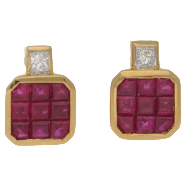 18 Karat Gold Ruby Diamond Stud Earrings