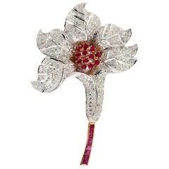 18 Karat Gold Ruby Diamond Tulip Brooch