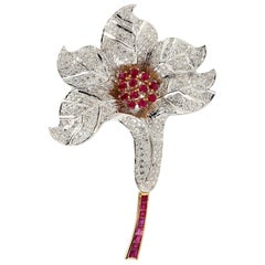 18 Karat Gold Ruby Diamond Tulip Brooch