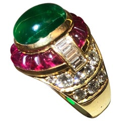 18 Karat Gold Ruby Emerald and Diamond Ring
