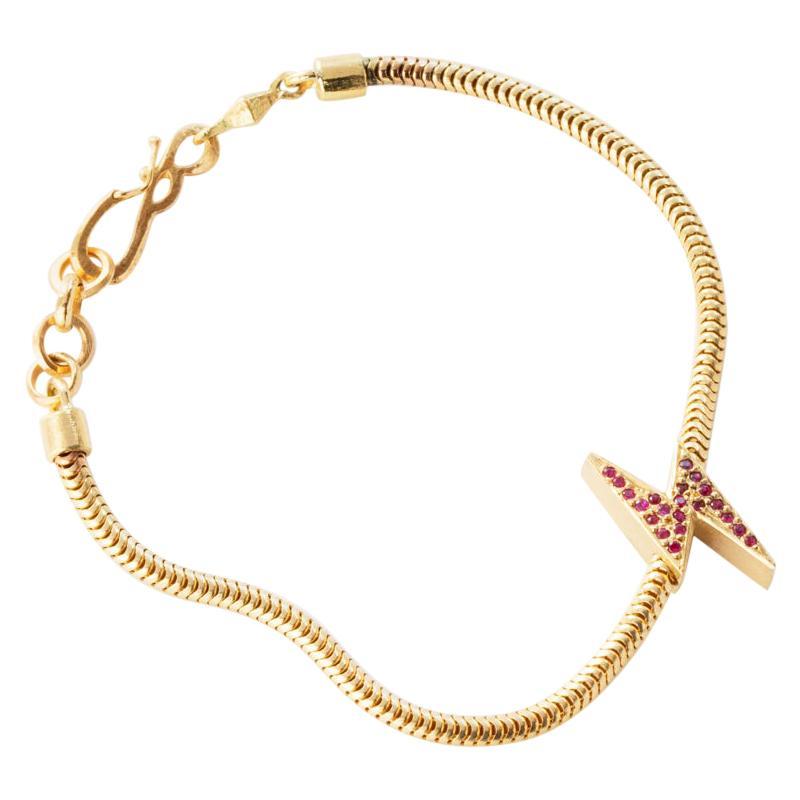 18 Karat Gold Ruby Lightening Bolt Snake Chain Bracelet