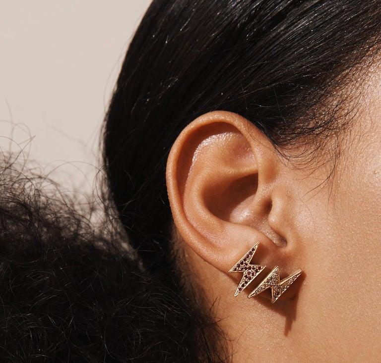 Women's or Men's 18 Karat Gold Ruby Pave Lightening Bolt Earrings For Sale
