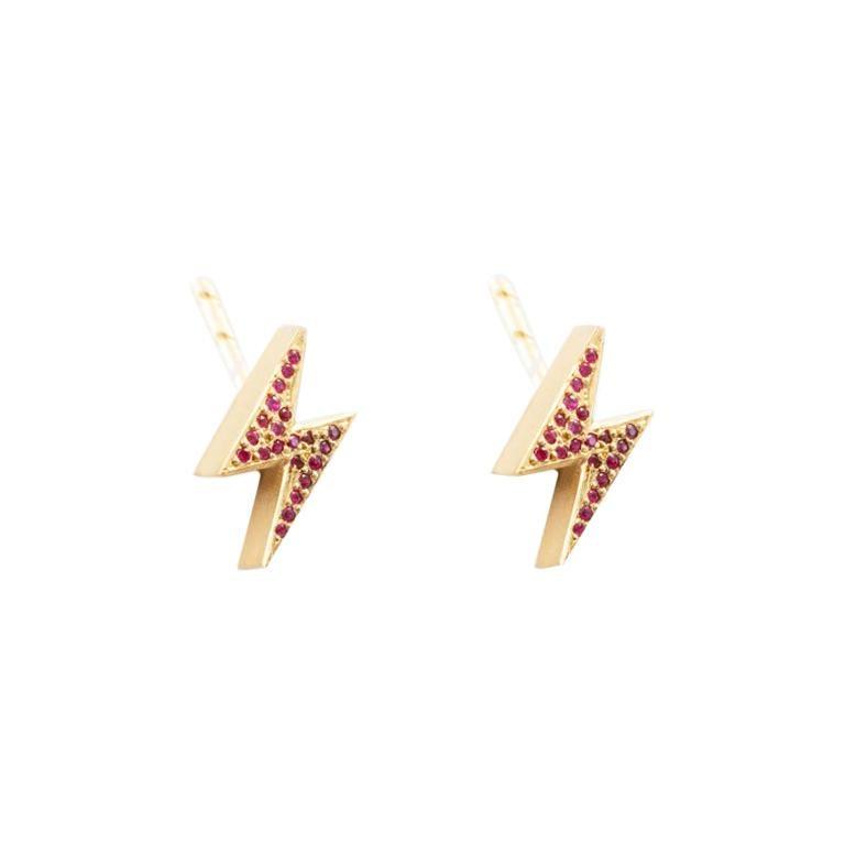 18 Karat Gold Ruby Pave Lightening Bolt Earrings For Sale