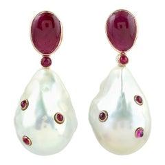 18 Karat Gold Ruby Pearl Earrings