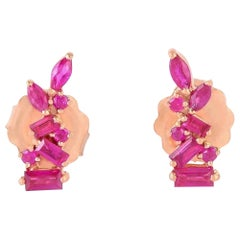 18 Karat Gold Ruby Stud Earrings