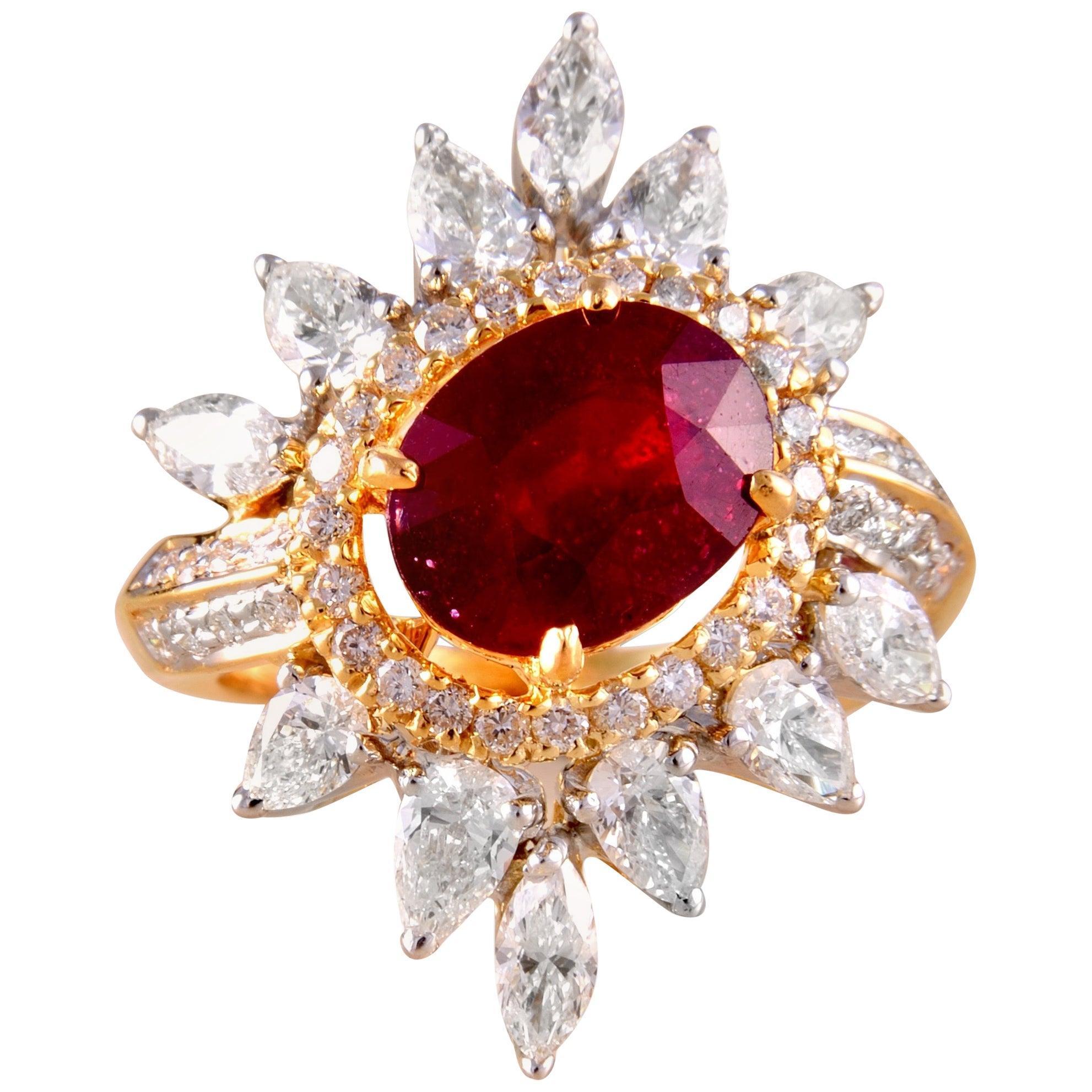 18 Karat Gold Ruby White Diamond Cocktail Ring
