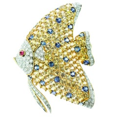 18 Karat Gold Sapphire Diamond Ruby Pave Gold Fish Pin Scarf Clip Piscis Brooch