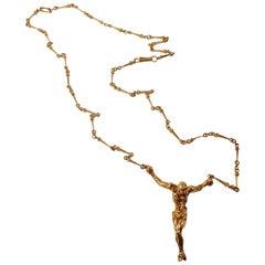 18 Karat Gold Salvador Dalí Cristo De San Juan De La Cruz Necklace and Bracelet