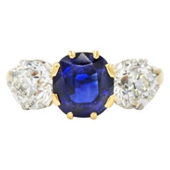 18 Karat Gold Sapphire and Diamond 3-Stone Ring by Spaulding & Co., circa 1890
