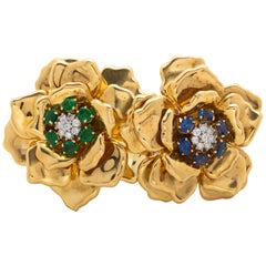 18 Karat Gold Sapphire and Diamond Brooch, Emis