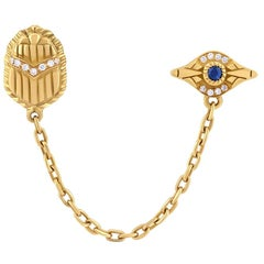 18 Karat Gold, Sapphire and Diamond Eye & Scarab Multi-Pierce Chain Stud Earring