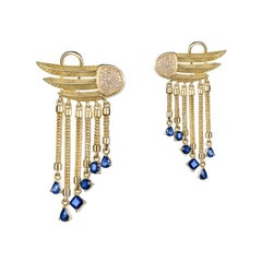 18 Karat Gold, Sapphire and Diamond Limited Wings Earrings