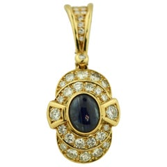 18 Karat Gold, Sapphire and Diamond Pearl Enhancer