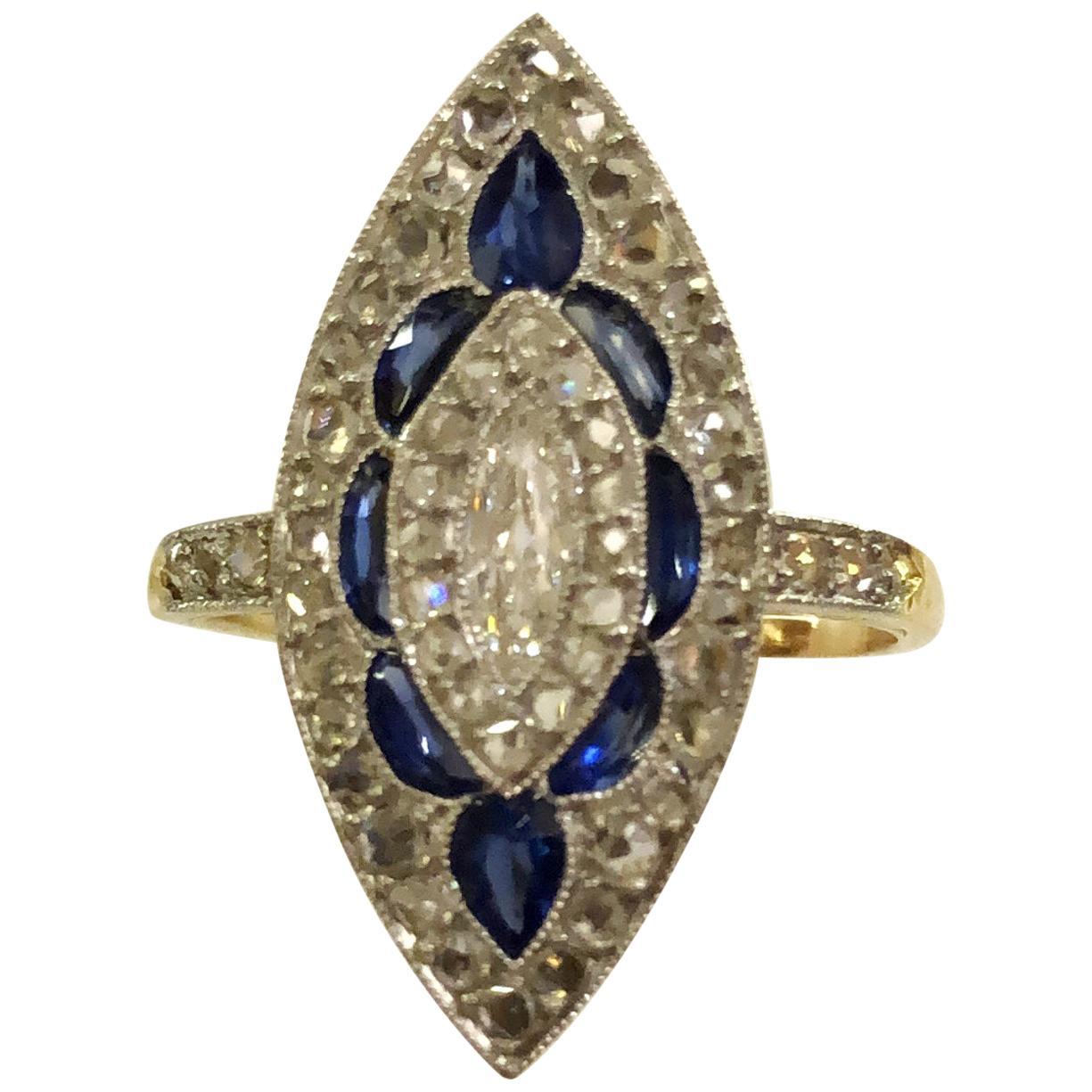 18 Karat Gold Sapphire and Diamond Ring