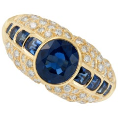 18 Karat Gold Sapphire and Diamond Ring