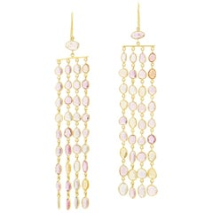 18 Karat Gold Sapphire Blush Earrings