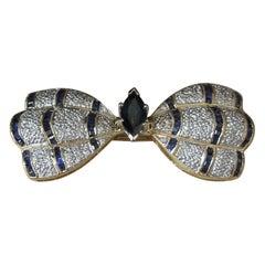 18 Karat Gold Sapphire Butterfly Pin Pendant