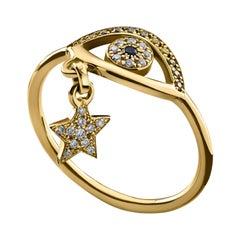 18 Karat Gold, Sapphire, Champagne Diamond and Diamond Gypsy Teardrop Ring