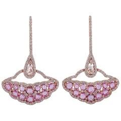 18 Karat Gold Sapphire Diamond Earrings