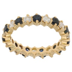 Sapphire & Diamond Eternity Ring 18 Karat Yellow Gold