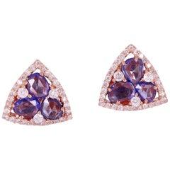 18 Karat Gold Sapphire Diamond Stud Earrings