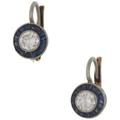 18 Karat Gold Sapphire Diamond Target Earrings