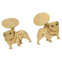 18 Karat Gold Sapphire Dog Cufflinks