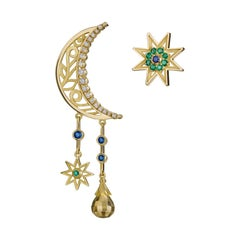 18 Karat Gold, Sapphire, Emerald and Diamond Mismatched Moon and Star Earrings