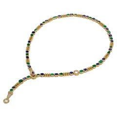 18 Karat Gold, Sapphire, Emerald and Diamond Snake Multi-Way Necklace