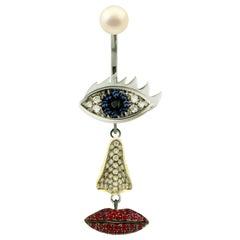 DELFINA DELETTREZ 18 Karat Gold Sapphire Ruby Diamond Drop Earring