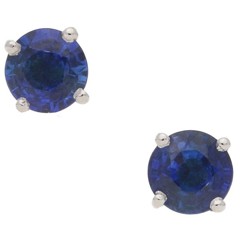 18 Karat Gold Sapphire Stud Earrings