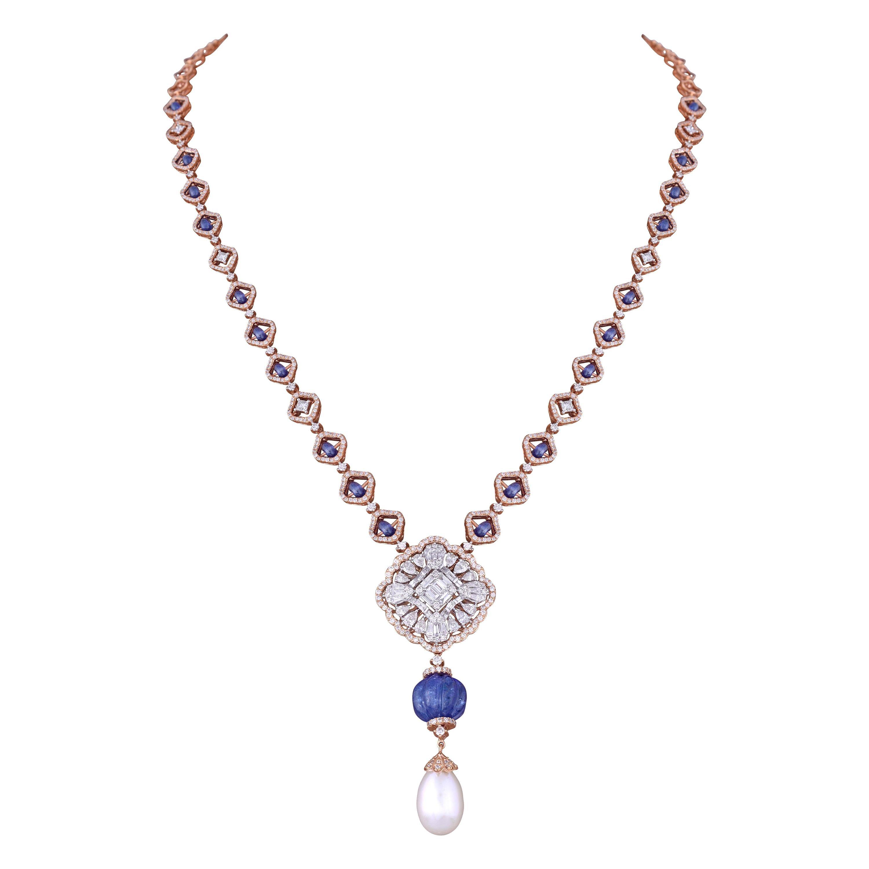 Sapphire Tanzanite Pearl White Diamond 18k Rose Gold Chain Necklace