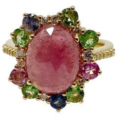 18 Karat Gold Sapphires, Tsavorite and Diamonds Italian Ring