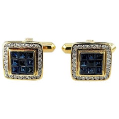 18 Karat Gold Set with 0.60 Carat Diamonds, Invisible Set Sapphires Cufflinks